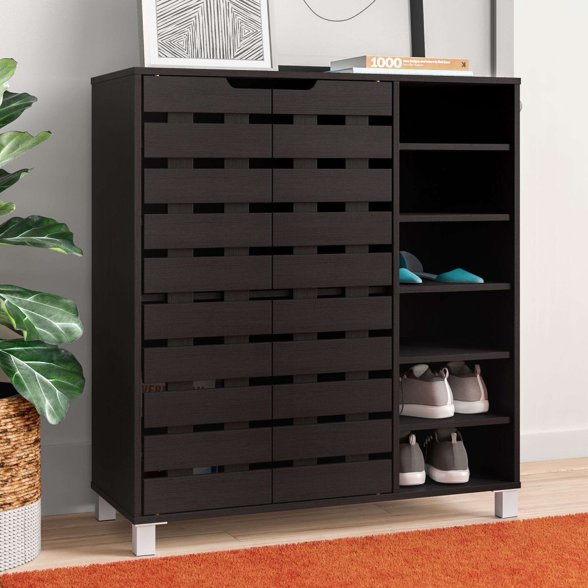 Ebern Designs Spicer 24 Pair Shoe Storage Cabinet Reviews Wayfair
