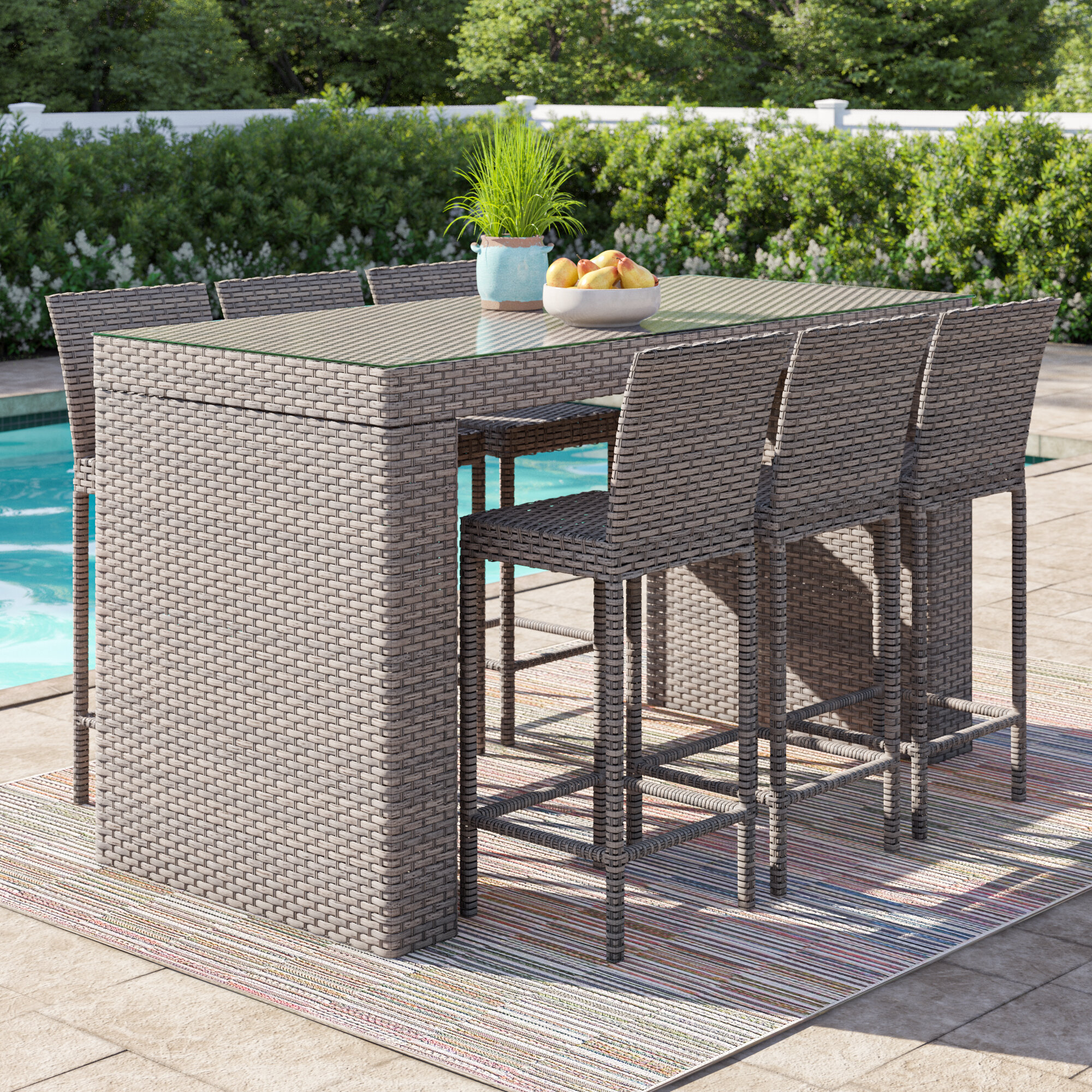 Picture of: Sol 72 Outdoor Rochford 7 Piece Bar Height Pub Table Set Wayfair