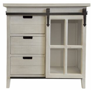 Savala Weathered Farm House Sliding Glass Door Accent Cabinet by Gracie Oaks