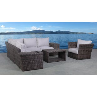 Benji 9 Piece Rattan Sectional Seating Group with Cushions