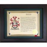 Coat-of-Arms Last Name History Prints (Landscape) - Picture Frame Textual Art Print