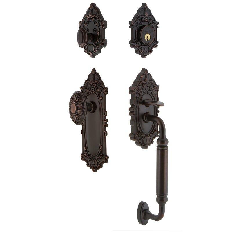 Grandeur Grande Victorian Handleset With Single Cylinder Deadbolt And Door Knob And Rosette Wayfair
