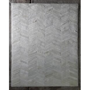 Best Belleville Patchwork Hand-Woven Cowhide Off White Area Rug By Foundry Select