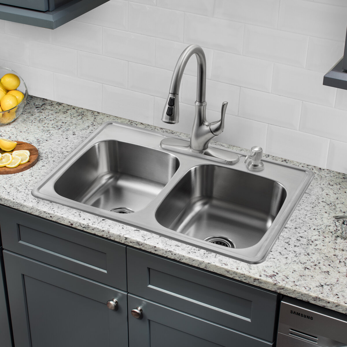 soleil 33 l x 22 w double bowl drop in stainless steel kitchen sink with faucet reviews wayfair - Drop In Kitchen Sink