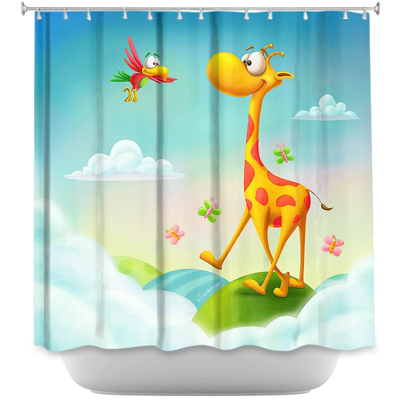 At The Hop Giraffe Shower Curtain