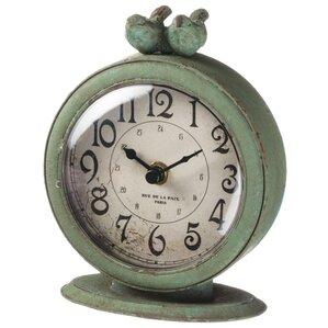 Elegant Antiqued Birds Tabletop Clock