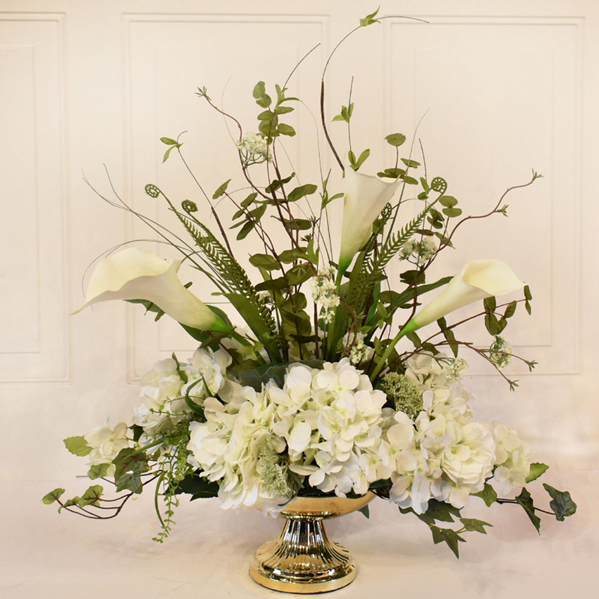 Marvelous Calla Lily Silk Hydrangea And Orchid Centerpiece In Decorative Vase Download Free Architecture Designs Scobabritishbridgeorg