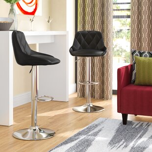 Acamar Adjustable Height Swivel Bar Stool (Set of 2) Wade Logan