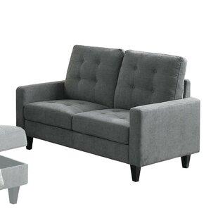 Rockwood Upholstered Straight Armrest Loveseat by Wrought Studio