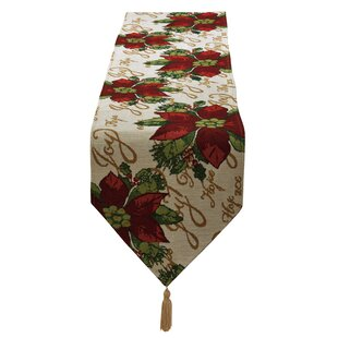 Best Reviews Decorative Christmas Poinsettias Script Design Tapestry Table Runner ByThe Holiday Aisle