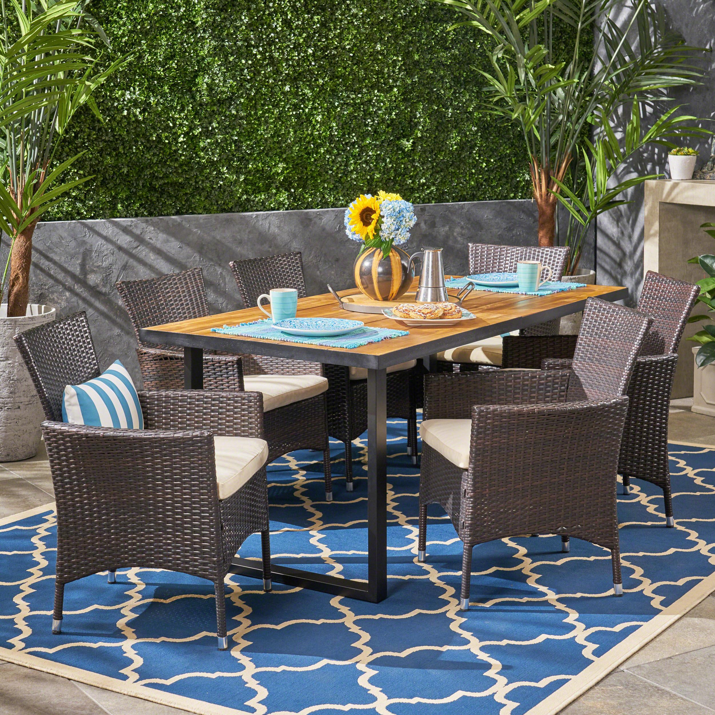 Ivy Bronx Wadsworth 7 Piece Teak Dining Set With Cushions Wayfair