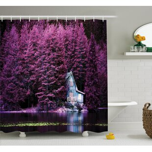 Read Reviews Lavender Purple Trees by Lake Shower Curtain ByEast Urban Home