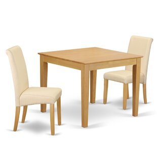 Kelsie Square Table 3 Piece Extendable Solid Wood Breakfast Nook Dining Set