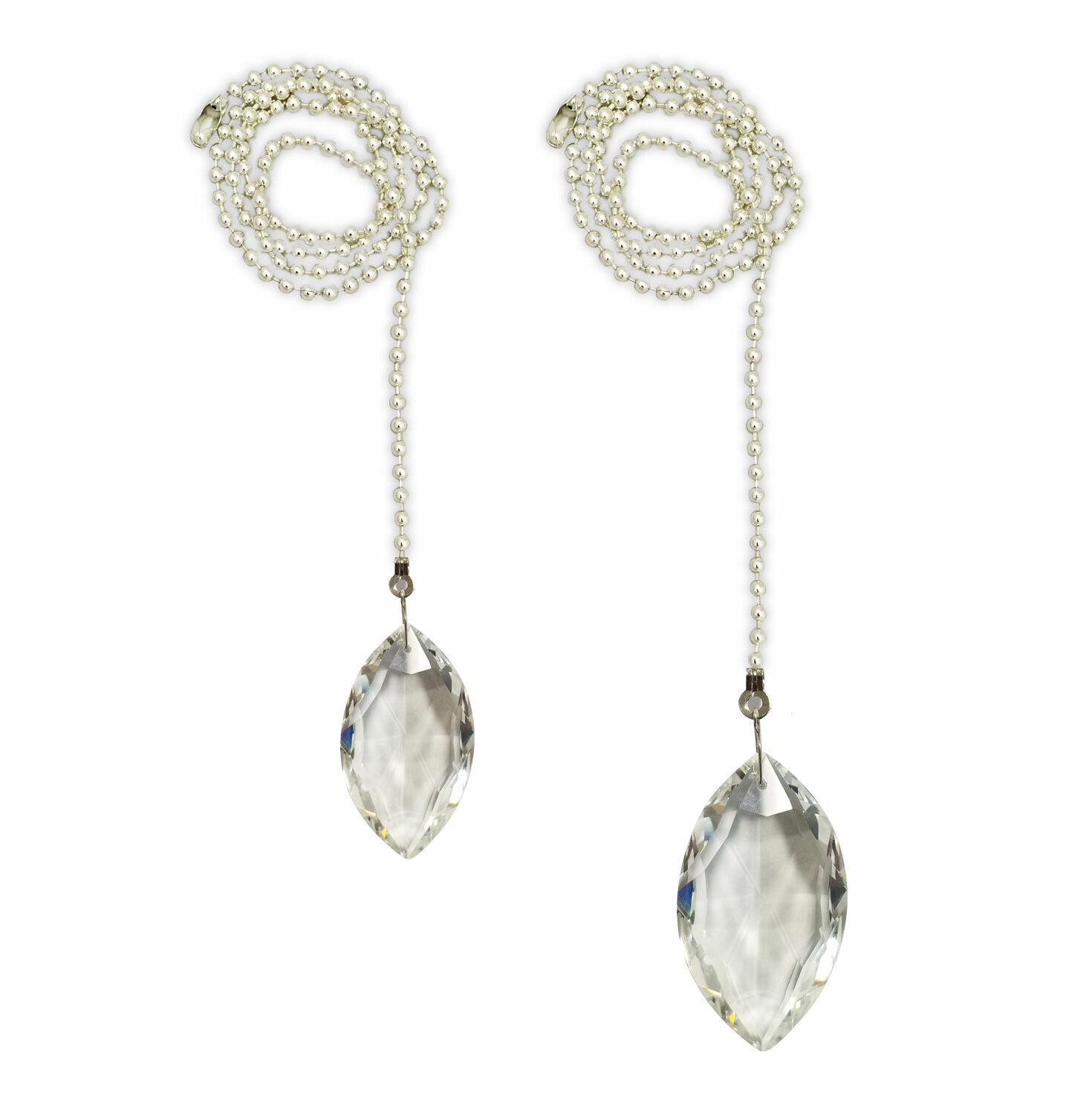 Fan Pull Chain with Balloon Shaped Crystal Faceted Pendant