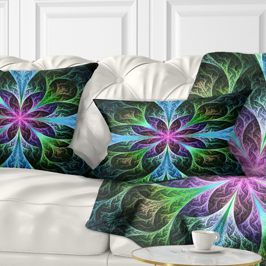 East Urban Home Floral Glowing Fractal Flower Pattern Lumbar Pillow Wayfair