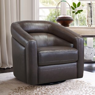 Silloth Contemporary Genuine Leather Swivel Barrel Chair