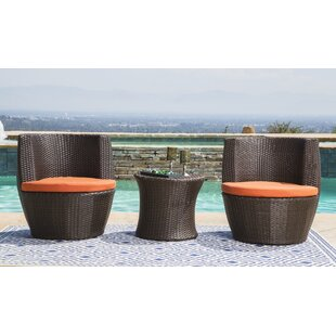 Ostrowski Outdoor Wicker 3 pieces Rattan Conversation Set with Cushions