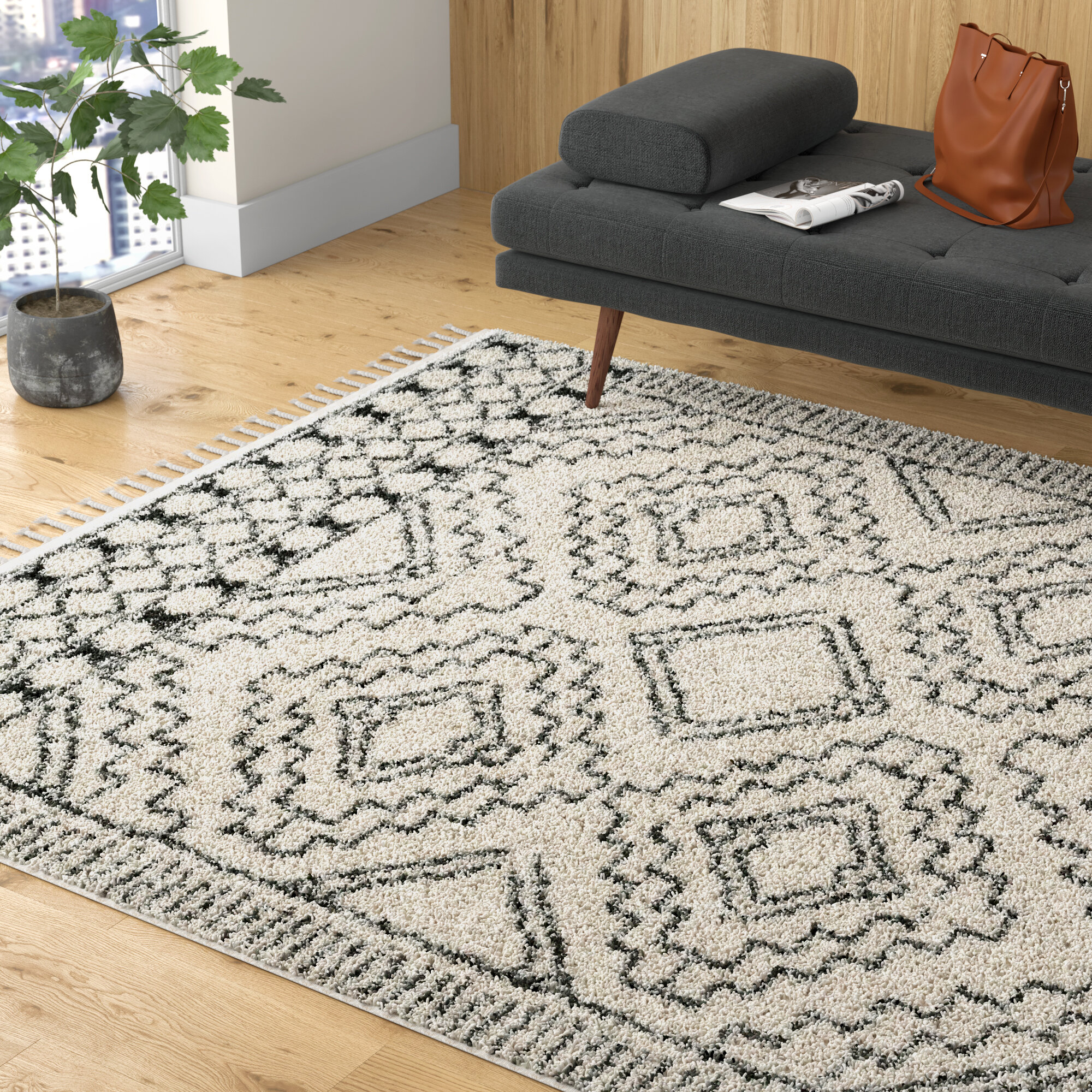 Allmodern Lydia Southwestern Cream Charcoal Area Rug Reviews Wayfair