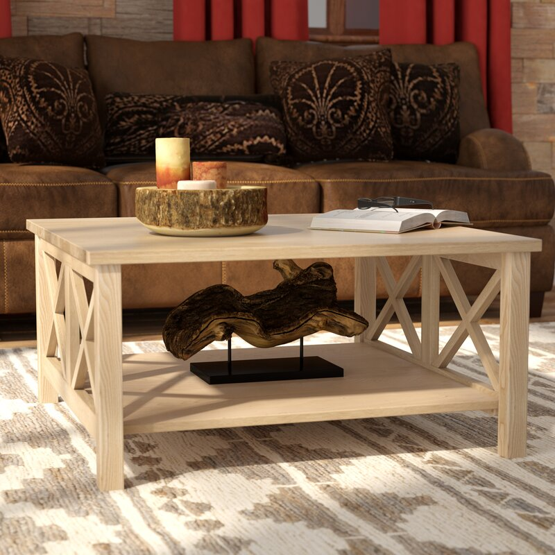 Beachcrest Home Cosgrave Solid Wood Coffee Table with Storage