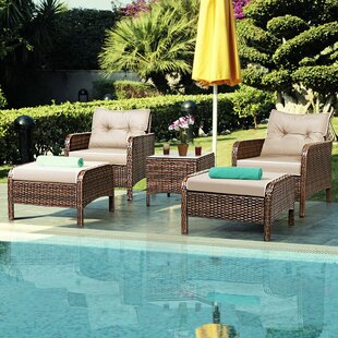 Canyon 4 Piece Rattan Sofa Seating Group with Cushions by Bay Isle Home