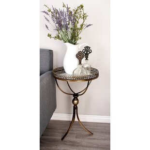 Metal and Mirror Tray End Table