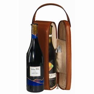 Royce Leather Suede Lined Single Wine Carrying Case in Genuine Leather