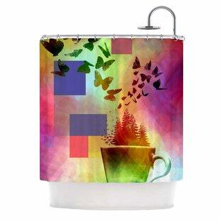 Teacup Fantasy by AlyZen Moonshadow Birds Shower Curtain