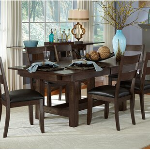 Alder Extendable Solid Wood Dining Table Loon Peak
