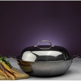 Viking 12 63 Clad Aluminum Wok With Lid Wayfair