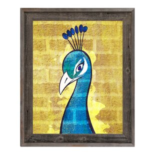 U0027Peacock Wall Yellowu0027 Framed Graphic Art