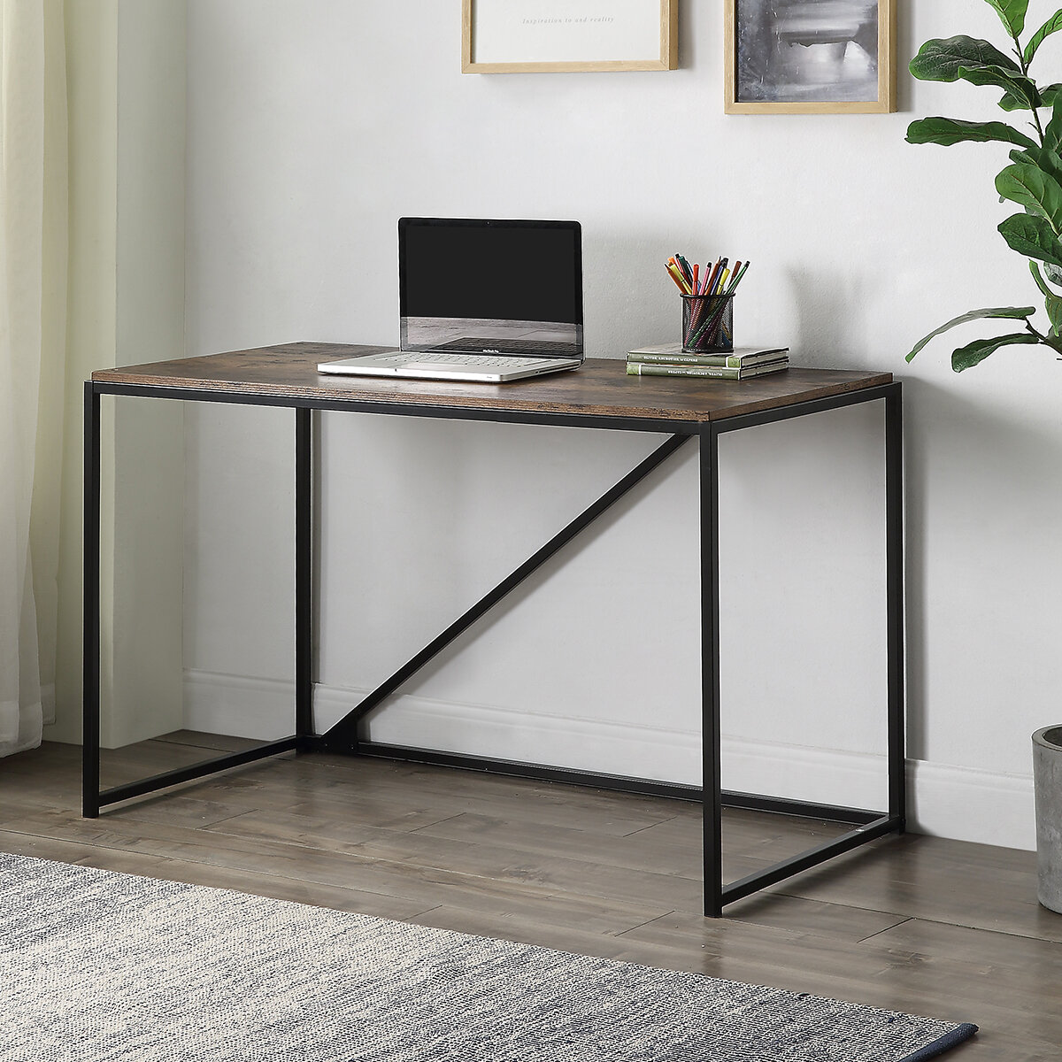 Image of: 17 Stories 46 Inch Home Office Desk Small Home Writing Desk Modern Minimalist Design Brown Wayfair Ca