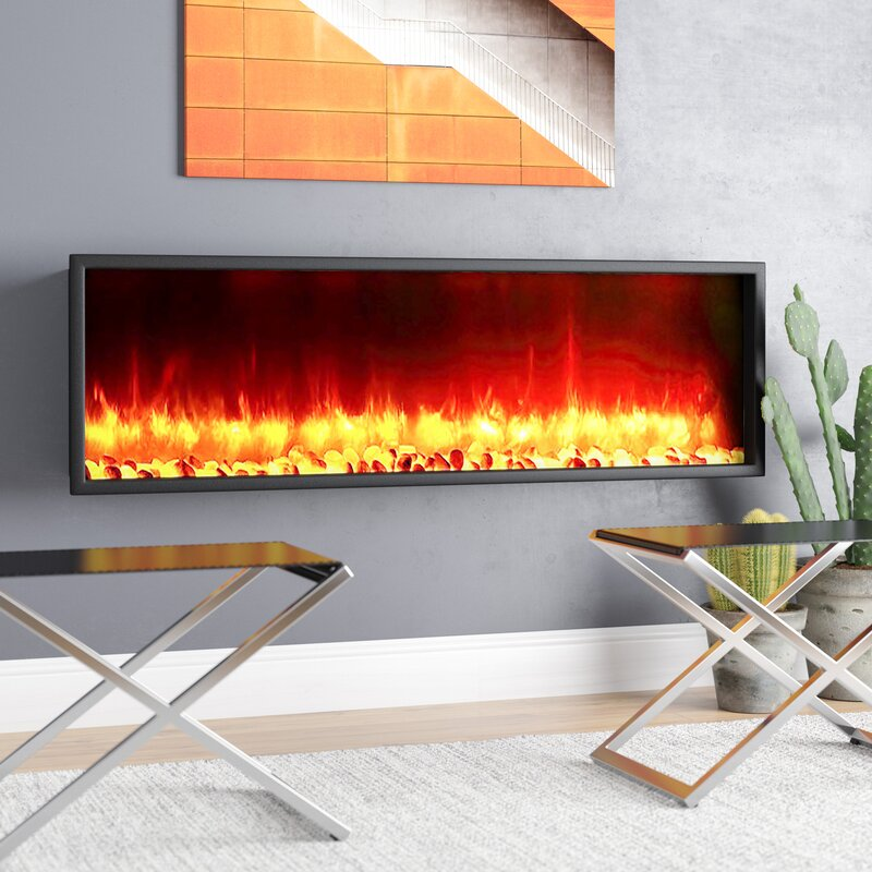 Wade Logan Belden Recessed Wall Mounted Electric Fireplace