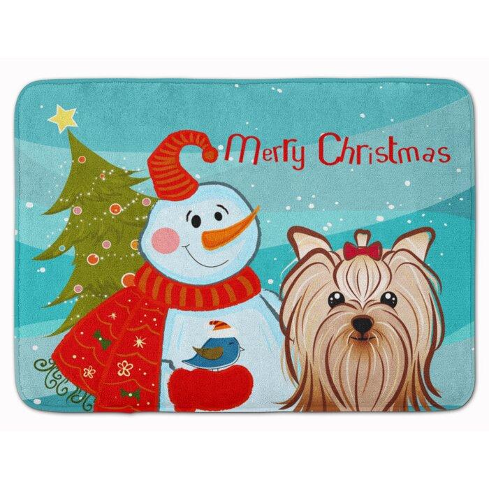 The Holiday Aisle Snowman With Yorkshire Terrier Memory Foam Bath Rug Wayfair