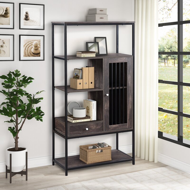 17 Stories Industrial Style 5 Tier Bookcase Multifunctional Bookshelf With 5 Display Shelves Drawer And Cabinet For Home Office Furniture Wayfair Ca