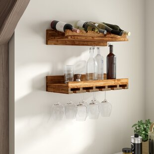 Oconner Wall Mounted Wine Bottle and Glas..