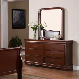 Guffey 6 Drawer Double Dresser with Mirror