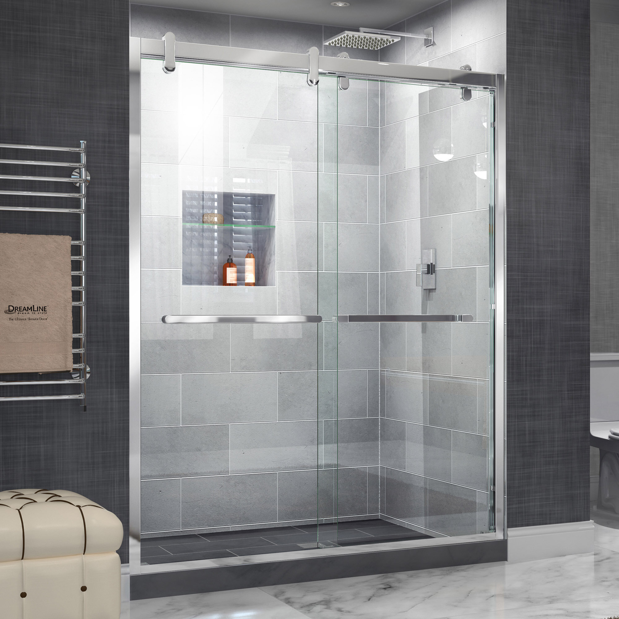 Dreamline Cavalier 60 X 77 38 Byp Semi Frameless Shower Door With Clearmax Technology Wayfair