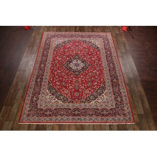 Affordable One-of-a-Kind Mizell Kashan Traditional Persian Hand-Knotted 9'8 x 12'7 Wool Red/Black Area Rug By Isabelline