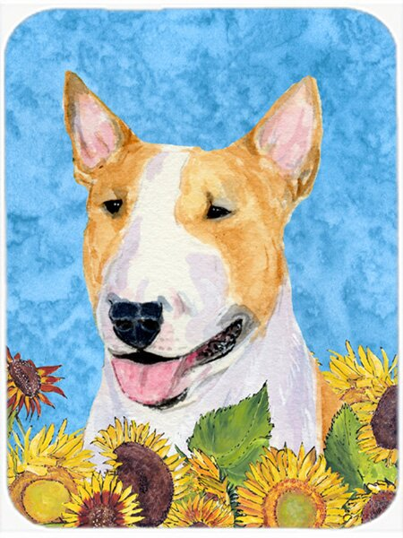 Winston Porter Bull Terrier And Sunflowers Glass Cutting Board Wayfair