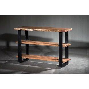 Union Rustic Navya Live Edge Wooden 3 Shelf Console Table