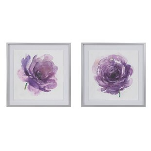 U0027Purple Ladies Roseu0027 2 Piece Framed Watercolor Painting Print Set On Paper