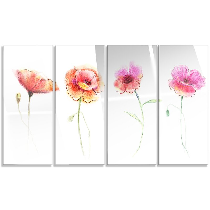 Designart watercolor poppy flowers sketch 4 piece painting print watercolor poppy flowers sketch 4 piece painting print on wrapped canvas set mightylinksfo
