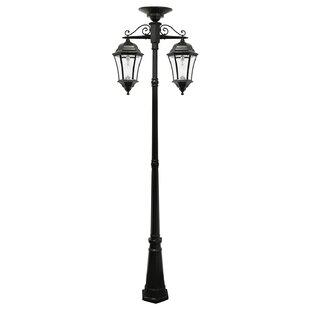 Almonte Bulb Solar Lamp Post - W/Gs Solar Light Bulb - Double Downard Lamps - Black By Charlton Home