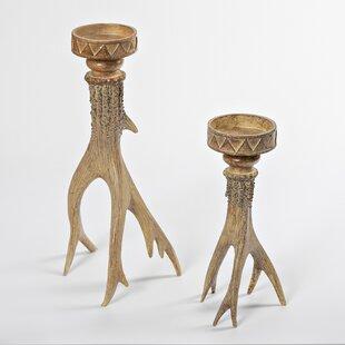 Antler Look 2 Piece Manufactured Wood Candlestick Set