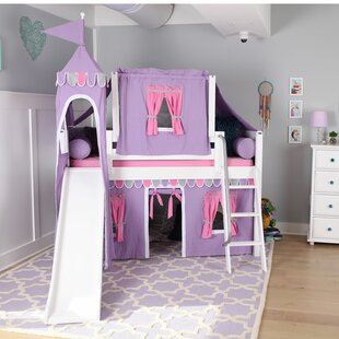 Wow Twin Loft Bed with Slide Tent and Curtains by