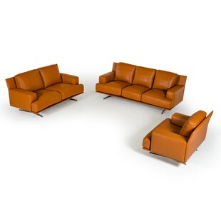 Great choice Lane 3 Piece Leather Living Room Set by Corrigan Studio Reviews (2019) & Buyer's Guide