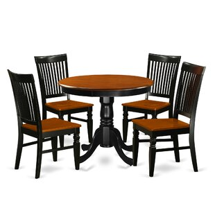 Hassan 5 Piece Solid Wood Breakfast Nook Dining Set