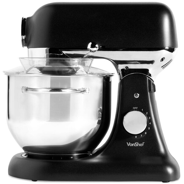 Vonshef 1000W Black Food Stand Mixer Kitchen Aid 4.5L Mixing Bowl Whisk Beater
