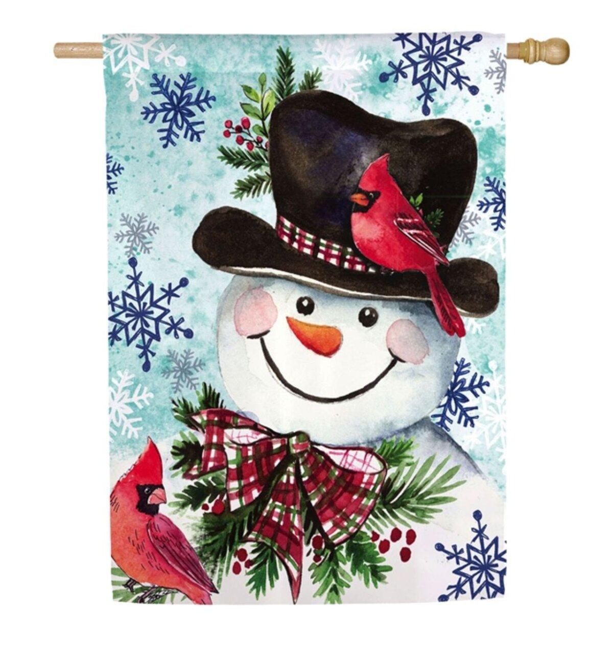 Evergreen Enterprises Inc Cardinal Friends Snowman 2 Sided Polyester 20 X 12 House Flag Wayfair