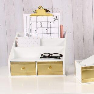 Rose Gold Office Desk Accessories Decorative File Box Set Of
